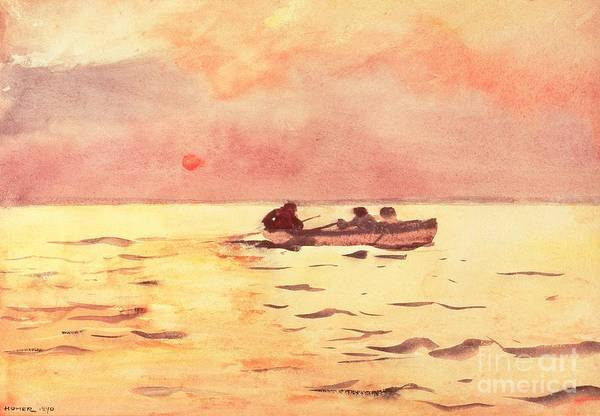 Sun Down Wall Art - Painting - Rowing Home by Winslow Homer