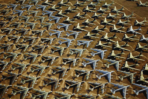 Military Air Base Photograph - Rows Of B-52s Tucson Az by Panoramic Images