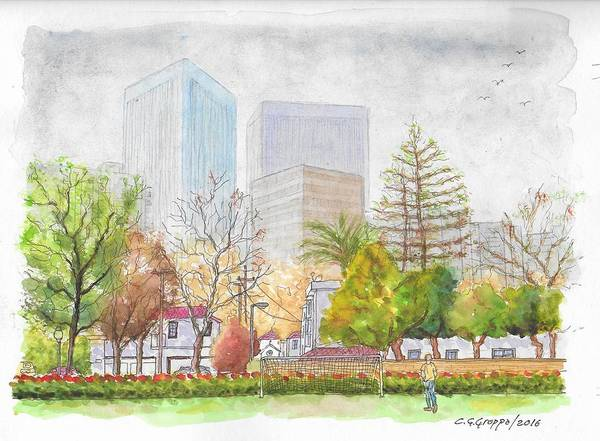 Roxbury Wall Art - Painting - Roxbury Park In Beverly Hills With Century City In The Background, Ca by Carlos G Groppa
