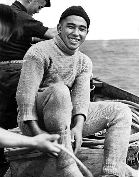 Photograph - Roy Hattori Abalone Diver In His  Dive Underwear. 1938 by California Views Archives Mr Pat Hathaway Archives
