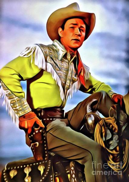 Show Business Wall Art - Digital Art - Roy Rogers, Hollywood Legend by Mary Bassett