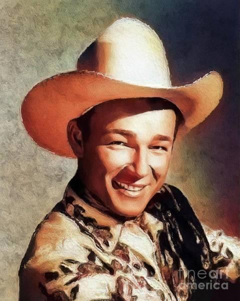 Cowboy Movie Wall Art - Painting - Roy Rogers, Vintage Western Star by John Springfield
