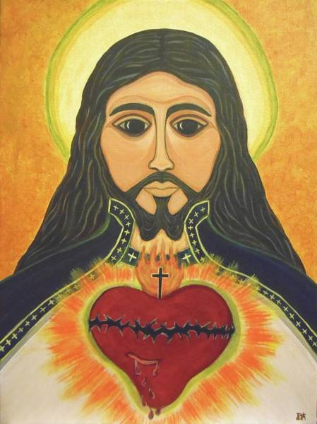 Wall Art - Painting - The Majestic Sacred Heart Of Jesus by Danielle Tayabas