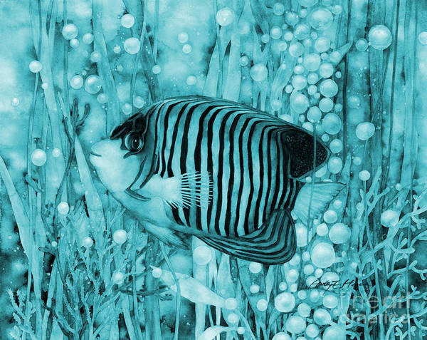 Wall Art - Painting - Royal Angelfish On Blue by Hailey E Herrera