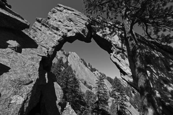 Photograph - Royal Arch Trail Arch Boulder Colorado Black And White by Toby McGuire