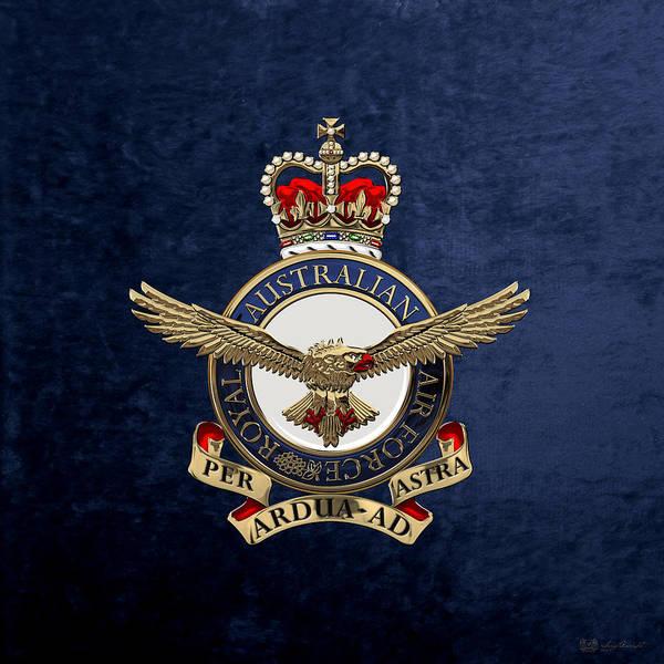 Royal Australian Air Force -  R A A F  Badge Over Blue Velvet Art Print