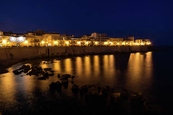 Photograph - Royal Blue And Gold - Syracuse Sicily From The Sea Promenade by Georgia Mizuleva