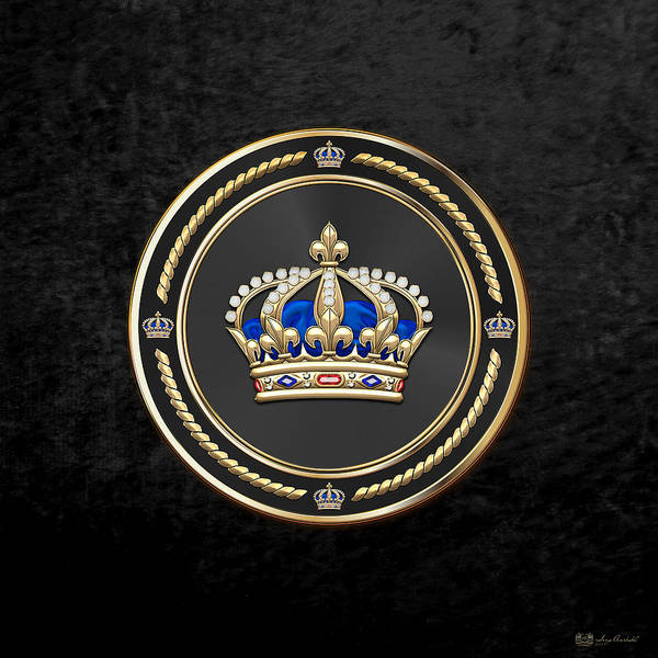 Regal Digital Art - Royal Crown Of France Over Black Velvet by Serge Averbukh