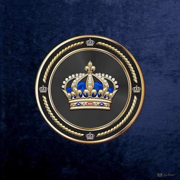 Regal Digital Art - Royal Crown Of France Over Blue Velvet by Serge Averbukh
