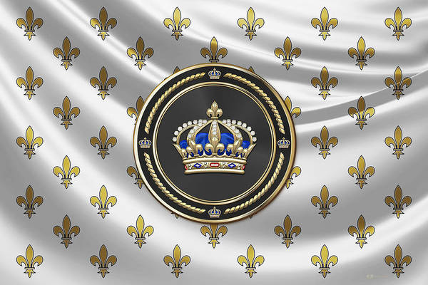 Regal Digital Art - Royal Crown Of France Over Royal Standard  by Serge Averbukh