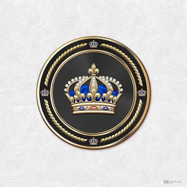 Regal Digital Art - Royal Crown Of France Over White Leather  by Serge Averbukh