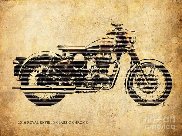 Arte Digital Art - Royal Enfield Classic Chrome 2016, Poster For Men Cave by Drawspots Illustrations