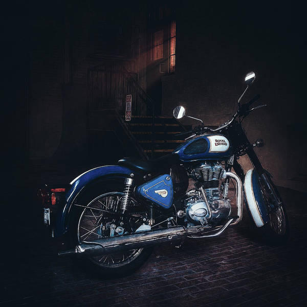 Light Blue Photograph - Royal Enfield by Scott Norris