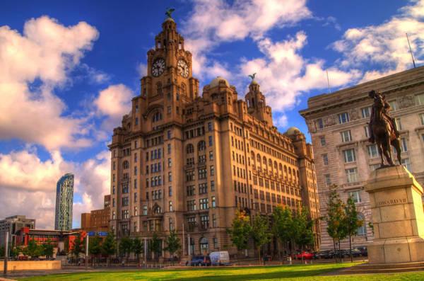 Liverpool Skyline Digital Art - Royal Liver Building Edward Vii Monument Liverpool Skyline by Colin Bailey