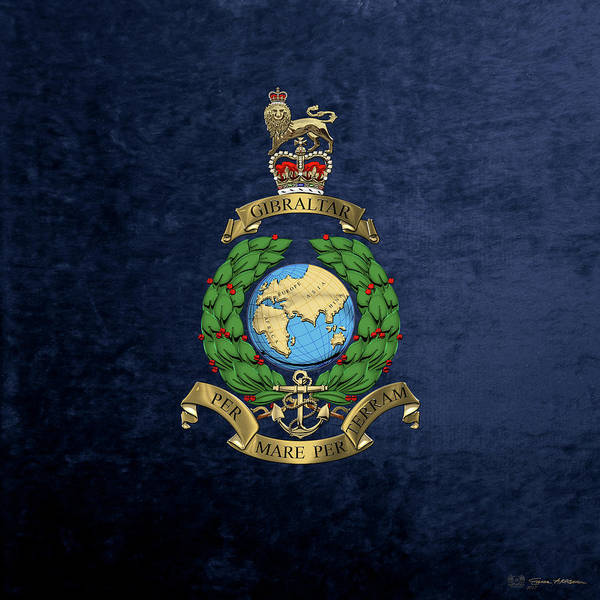 Digital Art - Royal Marines -  R M  Badge Over Blue Velvet by Serge Averbukh