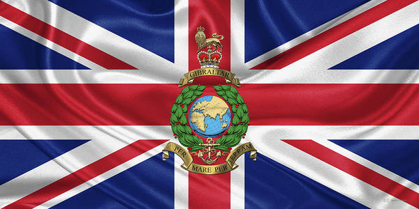 Digital Art - Royal Marines -  R M  Badge Over British Flag by Serge Averbukh