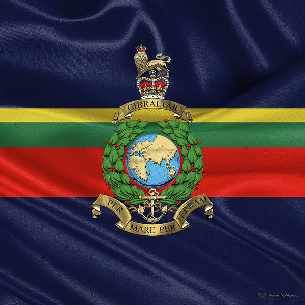Digital Art - Royal Marines -  R M  Badge Over Flag by Serge Averbukh