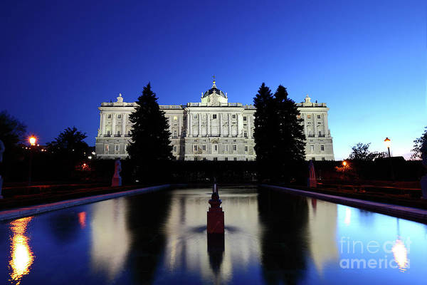 Photograph - Royal Palace Reflected In Pool In Sabatini Gardens Madrid  by James Brunker
