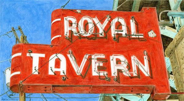 Neon Drawing - Royal Tavern by Rob De Vries