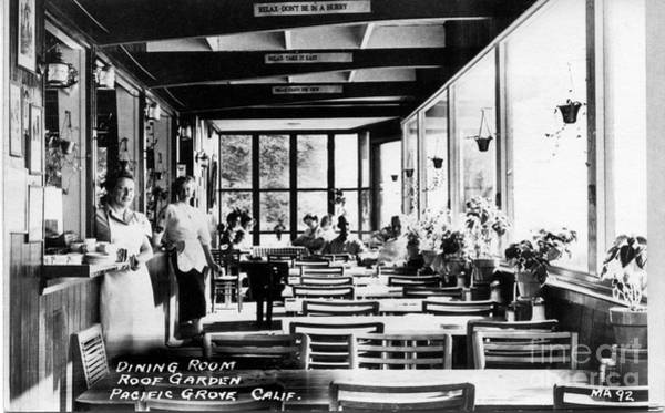 Photograph - Rozsi And Leons Restaurant Dining Room Lovers Point Late 1950s. by California Views Archives Mr Pat Hathaway Archives