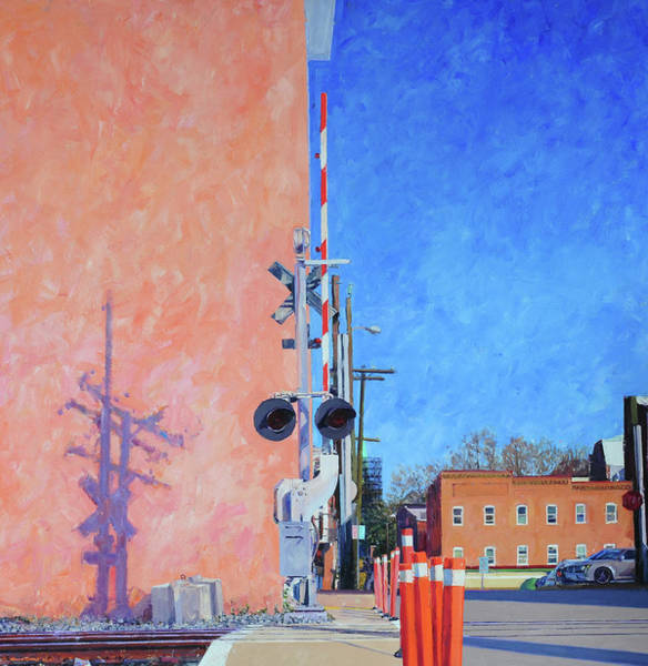 Wall Art - Painting - Rr Crossing At The Pink Warehouse by Edward Thomas
