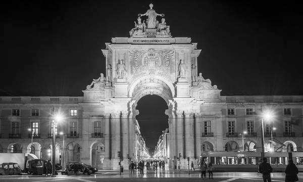 Photograph - Rua Agusta Arch Lisbon Bw by Joan Carroll