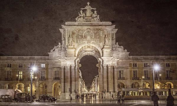 Photograph - Rua Agusta Arch Lisbon Textured by Joan Carroll