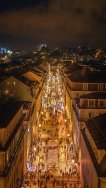 Photograph - Rua Agusta Lisbon Night by Joan Carroll