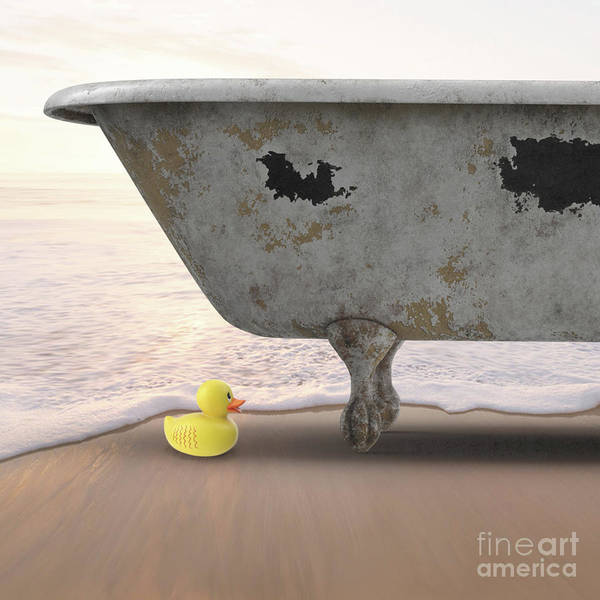 Wall Art - Digital Art - Rubber Ducky Bathtub Beach Surreal by Edward Fielding