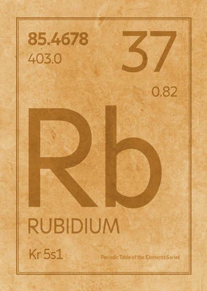Elements Mixed Media - Rubidium Element Symbol Periodic Table Series 037 by Design Turnpike