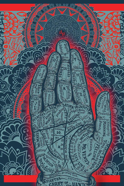 Wall Art - Painting - Rubino Blue Zen Namaste Hand by Tony Rubino