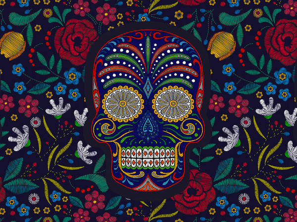 Wall Art - Painting - Rubino Floral Skull by Tony Rubino