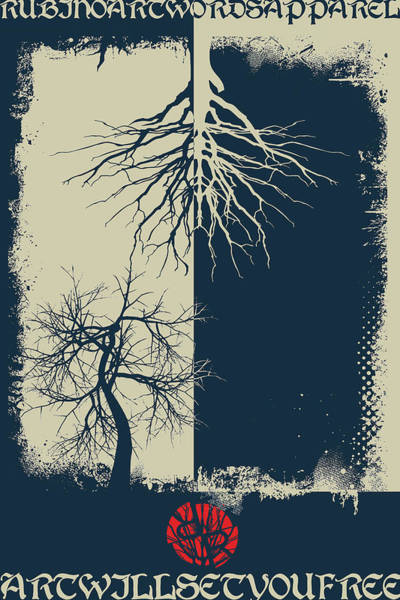 Wall Art - Mixed Media - Rubino Grunge Tree by Tony Rubino