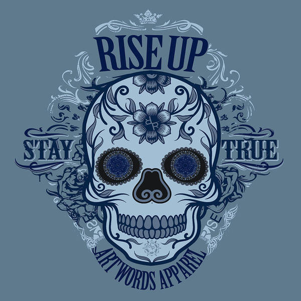 Painting - Rubino Rise Up Skull Blue by Tony Rubino