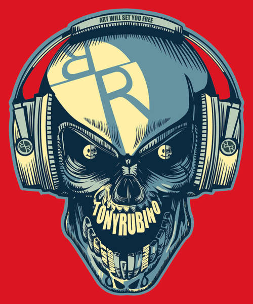 Painting - Rubino Skull In Headphones by Tony Rubino