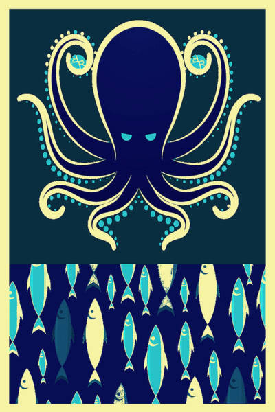 Wall Art - Painting - Rubino Zen Octopus Blue by Tony Rubino