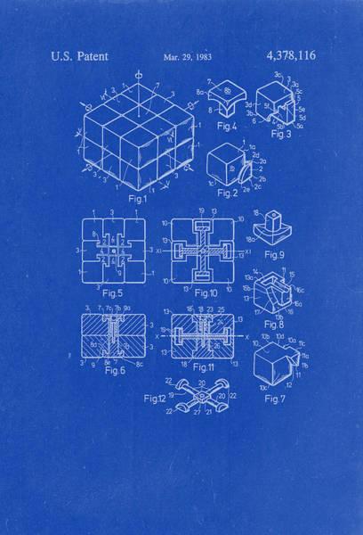 Artful Drawing - Rubix Cube Patent Drawing 1983 Blueprint by Patently Artful