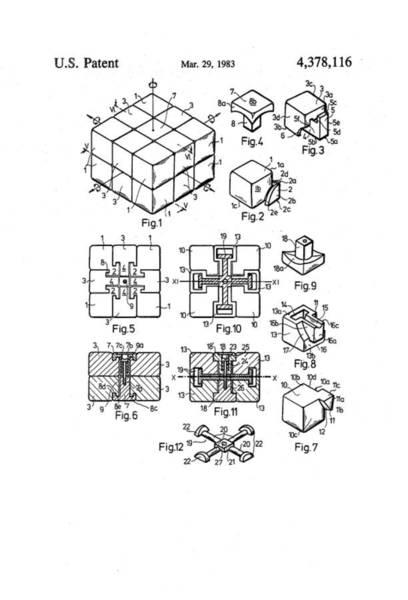 Artful Drawing - Rubix Cube Patent Drawing 1983 Bw by Patently Artful