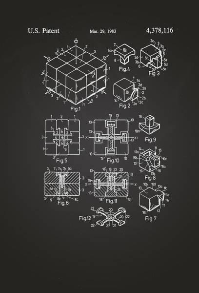 Artful Drawing - Rubix Cube Patent Drawing 1983 Chalkboard by Patently Artful