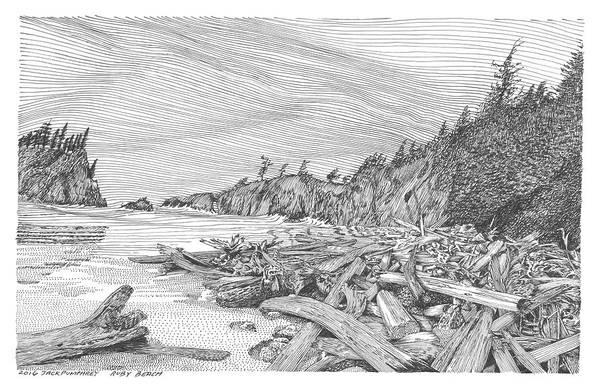 Sea Stacks Drawing - Ruby Beach  Our Beach by Jack Pumphrey