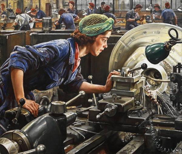 Oil Industry Painting - Ruby Loftus Screwing A Breech Ring by Mountain Dreams