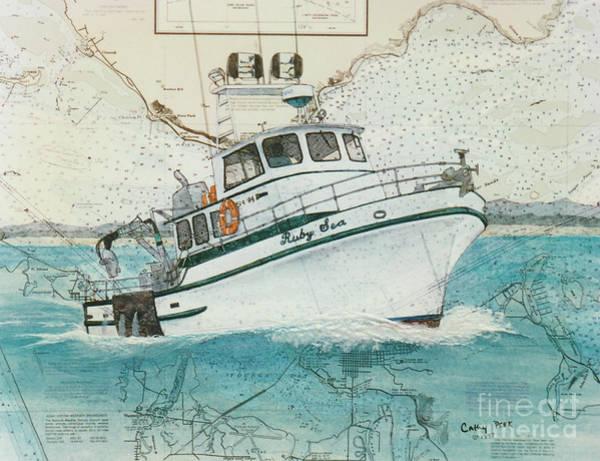 Warrenton Wall Art - Painting - Ruby Sea Crab Fish Boat Nautical Chart Map Oregon by Cathy Peek