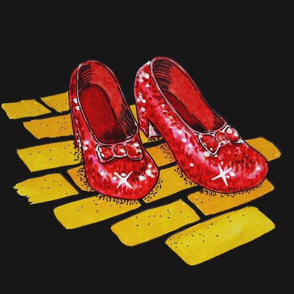 Yellow Brick Road Wall Art - Painting - Ruby Slippers From Wizard Of Oz by Irina Sztukowski