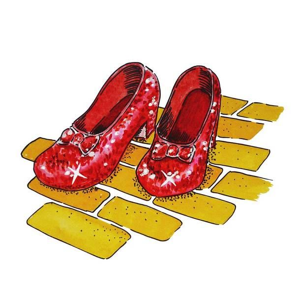 Yellow Brick Road Wall Art - Painting - Ruby Slippers The Wonderful Wizard Of Oz by Irina Sztukowski