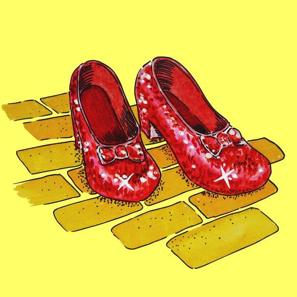 Yellow Brick Road Wall Art - Painting - Ruby Slippers Wizard Of Oz by Irina Sztukowski
