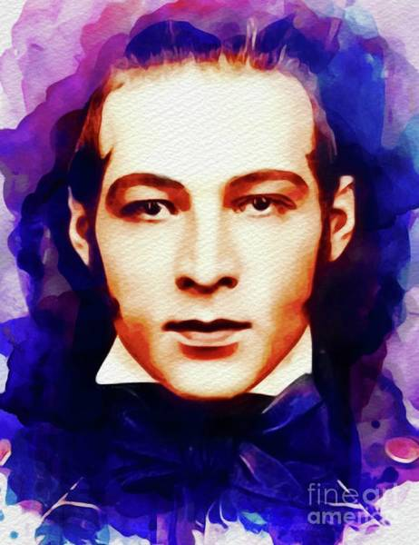 Stardom Painting - Rudolph Valentino, Vintage Movie Star by John Springfield
