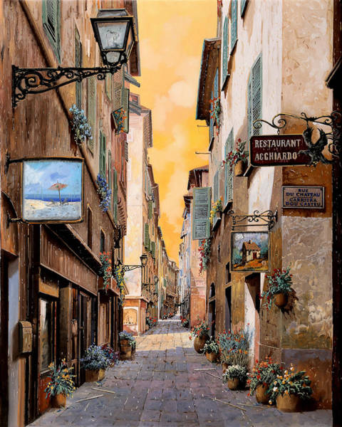 Wall Art - Painting - Rue Droite Nice  by Guido Borelli