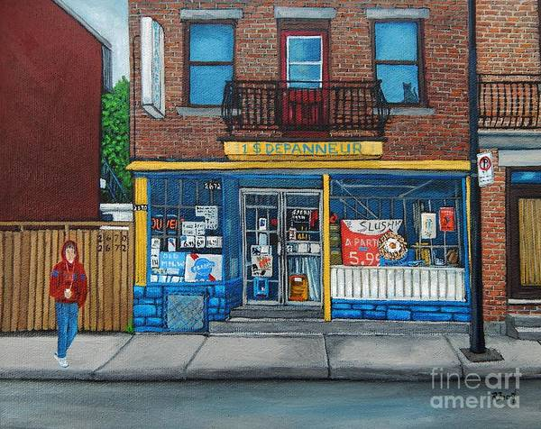 Montreal Street Scene Wall Art - Painting - Rue Du Centre Depanneur by Reb Frost