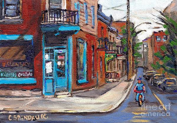 Painting - Rue Fairmount And Clark Wilensky Corner Deli Quebec Paintings Best Authentic Original Montreal Art by Carole Spandau