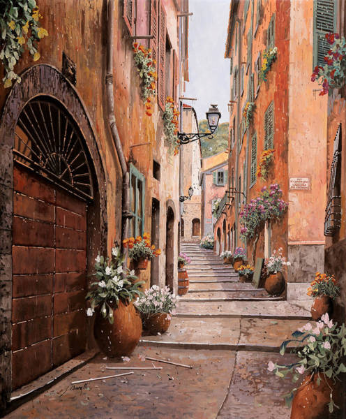 Street Painting - rue Malonat in  Nice  by Guido Borelli